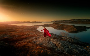 Picture girl, the sun, light, nature, shore, red dress, pond