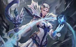 Wallpaper cold, ice, look, girl, magic, fantasy, art, costume