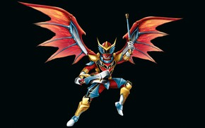 Picture wings, costume, black background, wings, Power Rangers, Red Dragon Fire Ranger