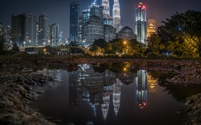 Picture the city, reflection, building, the evening, puddle, lighting, skyscrapers, skyscrapers, Malaysia, Kuala Lumpur