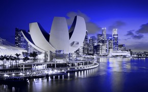 Picture night, lights, home, Singapore, Museum