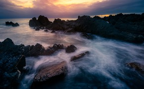 Picture sea, the sky, clouds, sunset, stones, rocks, shore, the evening, surf, twilight, rocky, stone ridge