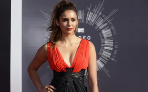 Picture look, decoration, pose, model, makeup, dress, neckline, Nina Dobrev, Nina Dobrev