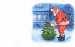 Picture winter, holiday, art, New year, herringbone, children's, Santa Claus, Calvin's Christmas, Vitali Dudarenka
