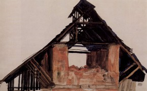 Picture 1913, Old brick house, Egon Schiele