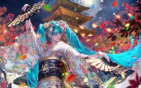 Picture dance, Japan, fan, pagoda, kimono, vocaloid, the full moon, Hatsune Miku, blue hair, maple leaves, …