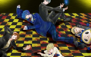 Picture the game, anime, art, floor, guys, characters, lie, person, Persona