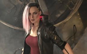 Picture look, Girl, cyborg, Cyberpunk 2077, Woman Warrior, Pink Hair