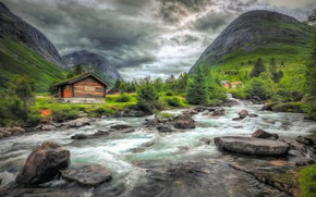 Picture trees, mountains, river, stones, Norway, houses