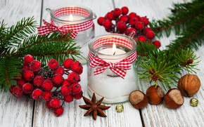 Picture decoration, candles, New Year, Christmas, christmas, wood, merry, nuts, decoration, candle, fir tree, fir-tree branches
