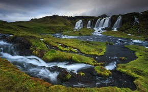 Picture greens, river, hills, for, stream, waterfalls, Iceland