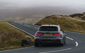 Picture asphalt, fog, Audi, turn, rear view, universal, RS 6, 2020, 2019, V8 Twin-Turbo, RS6 Avant, …