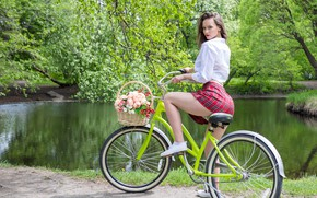 Picture look, trees, flowers, bike, sexy, pose, pond, Park, basket, model, skirt, portrait, makeup, figure, hairstyle, …