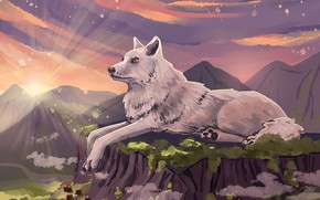 Picture the sun, rays, landscape, mountains, river, graphics, wolf, art, illustration