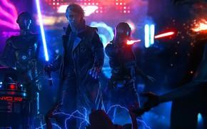 Picture Robot, Star Wars, Sword, Power, Art, Art, Skywalker, Rendering, Luke Skywalker, Jedi, R2-D2, Droid, StarWars, …