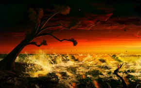 Picture Sunset, The ocean, Sea, Tree, Figure, Wave, Storm, Fantasy, Art, Tree, Storm, Sunset, Ocean, Sea, …