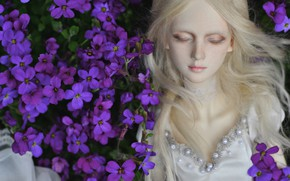 Picture flowers, hair, doll, blonde