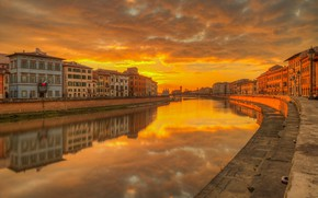 Picture sunset, river, home, Italy, glow, Pisa, Arno
