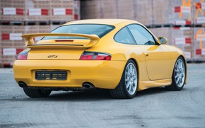Picture Yellow, Sportcar, Back, Porsche 996 GT3, German Car