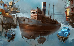 Wallpaper Universo Chatarra, ship, cars, the sky, The Boca sci-fi