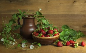 Picture flowers, berries, strawberries, strawberry, still life