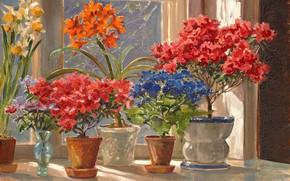 Picture flowers, window, vase, sill, pots, Watercolor, Olga Kulikovskaya-Romanova