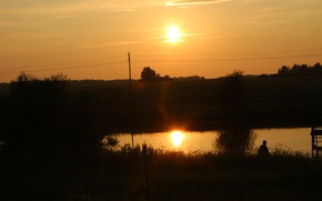 Picture sunset, lake, reflection, Belarus, my photo, Crackers