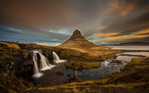 Wallpaper autumn, the sky, grass, clouds, mountains, clouds, shore, mountain, the evening, the volcano, waterfalls, Iceland, ...
