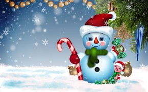 Picture winter, background, holiday, new year, snowman, symbol of the year, postcard, pig