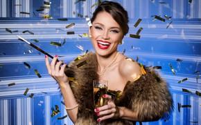 Picture girl, smile, style, retro, makeup, pearl, beads, fur, Sergejs Rahunoks