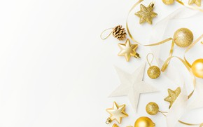 Picture decoration, balls, New Year, Christmas, golden, Christmas, balls, New Year, decoration, Merry