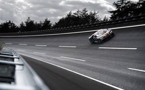 Picture asphalt, trees, turn, Bugatti, hypercar, Chiron, Super Sport 300+