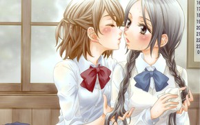 Picture braids, blush, bow, Schoolgirls, bags, art, embarrassment, almost kiss, white blouse, two girls, Milk Morinaga