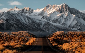 Picture road, autumn, the sky, snow, mountains, autumn