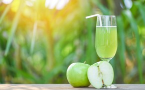 Picture light, green, table, background, half, apples, glass, juice, green, tube, drink, bokeh, Apple