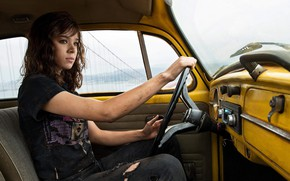Picture girl, yellow, fiction, jeans, frame, Mike, brown hair, driving, car, sitting, salon, Bumblebee, Bumblebee, Haley ...