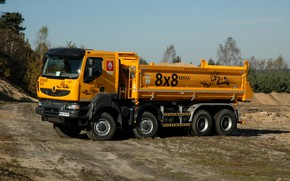 Picture orange, truck, Renault, side, 8x8, dump truck, four-axle, Renault Trucks, Kerax