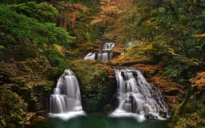 Picture waterfall, moss, slope