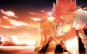 Picture romance, Sunset, anime, art, pair, two, Fairy Tail, Natsu, Lucy, Fairy tail