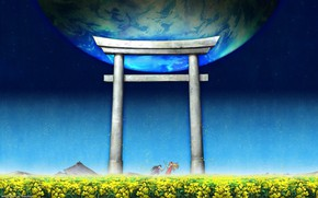 Picture Japan, blue sky, torii gate, by Kaishaku, Himeko Kurusugawa, Kannazuki no Miko, Chikane Himemiya
