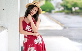 Picture hat, girl, cutie, dress, Asian