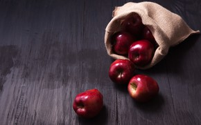 Wallpaper apples, red, red, fruit, wood, fruit, apples