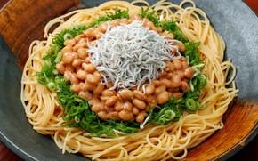 Picture fish, spaghetti, pasta, beans