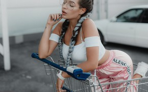 Picture girl, pose, glasses, truck, braids, Andrey Popenko