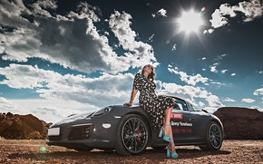 Picture the sky, the sun, clouds, landscape, pose, model, makeup, figure, dress, hairstyle, brown hair, car, …