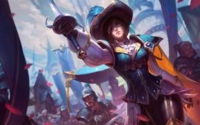 Picture girl, sword, fantasy, game, armor, weapon, hat, coat, League of Legends, digital art, artwork, warrior, …
