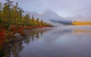 Picture autumn, forest, landscape, mountains, nature, fog, shore, Vladimir Ryabkov, Kolyma, the lake of Jack London
