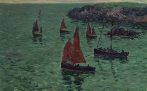 Picture landscape, picture, Boats on the Sea, Henry Moret