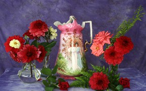 Picture flowers, table, background, roses, pitcher, still life, tablecloth, vases, dahlias