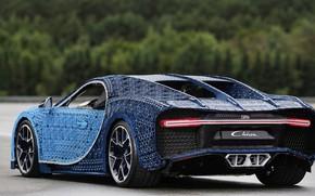 Picture machine, Bugatti, LEGO, supercar, supercar, Lego, blue car, Chiron, Bugatti Chiron, machine out of LEGO, …